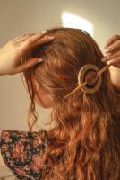Black Wood Circle Hair Pin