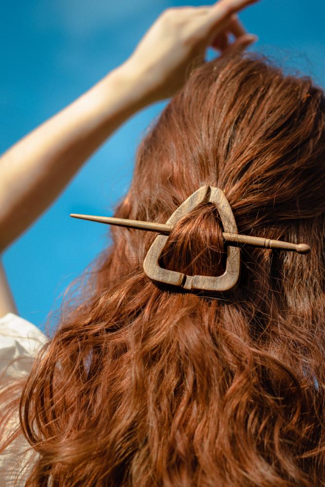 Black Wood Triangle Hair Pin