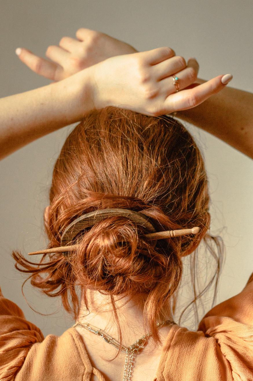 Black Wood Oblong Hair Pin