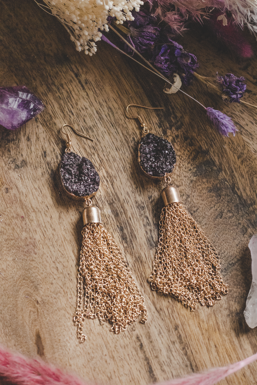 Gold Tone Black Crystal Statement Chain Drop Earrings
