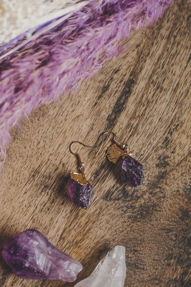 Gold Tone Amethyst Rock Statement Earrings