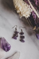 925 Sterling Silver & Amethyst 3 Drop Semi Precious Stone Earrings