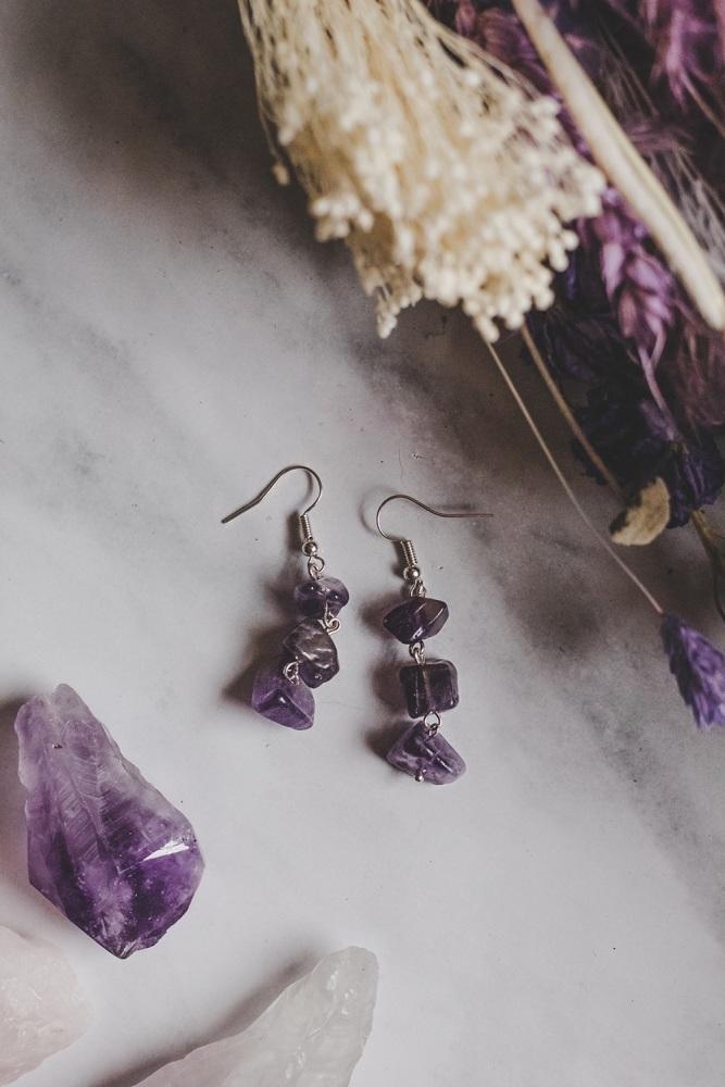925 Sterling Silver & Amethyst 3 Drop Semi Precious Stone Earrings