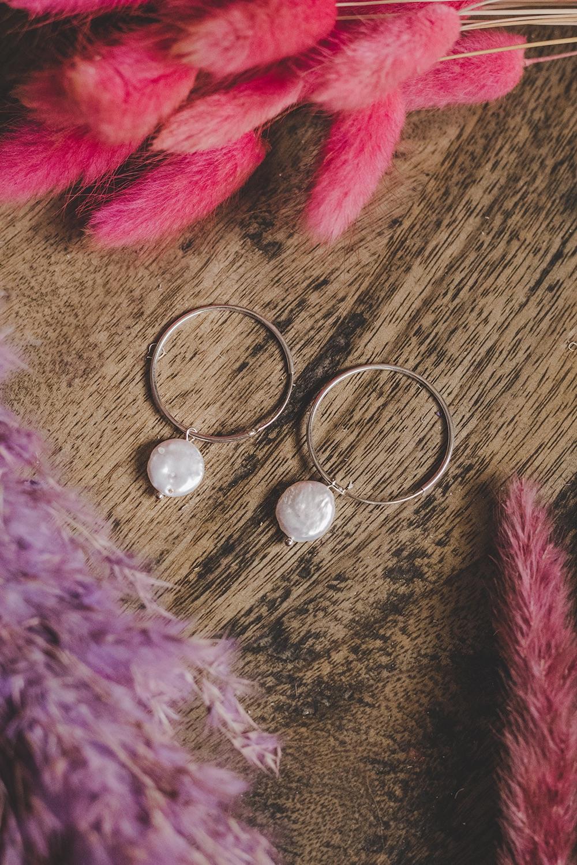 925 Sterling Silver Large Hoop & Mother of Pearl Flat Stone Earrings