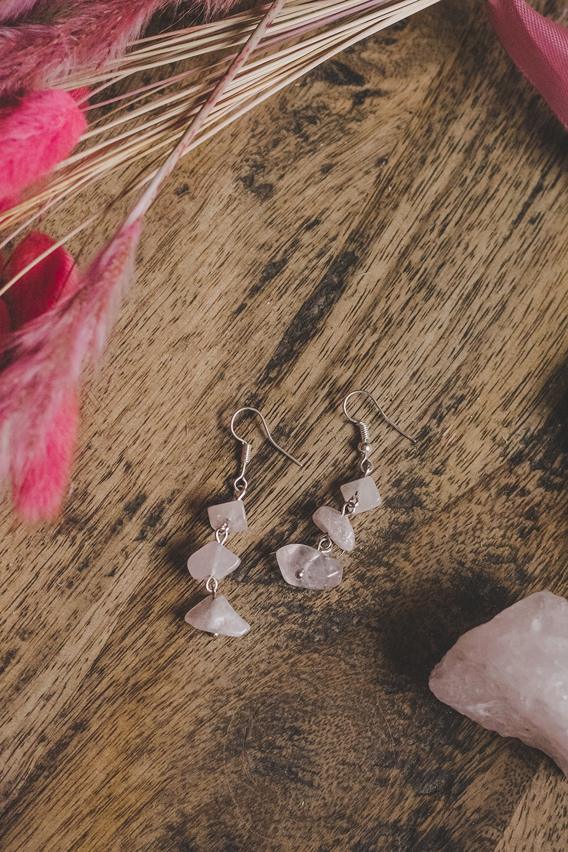925 Sterling Silver & Rose Quartz 3 Drop Semi Precious Stone Earrings