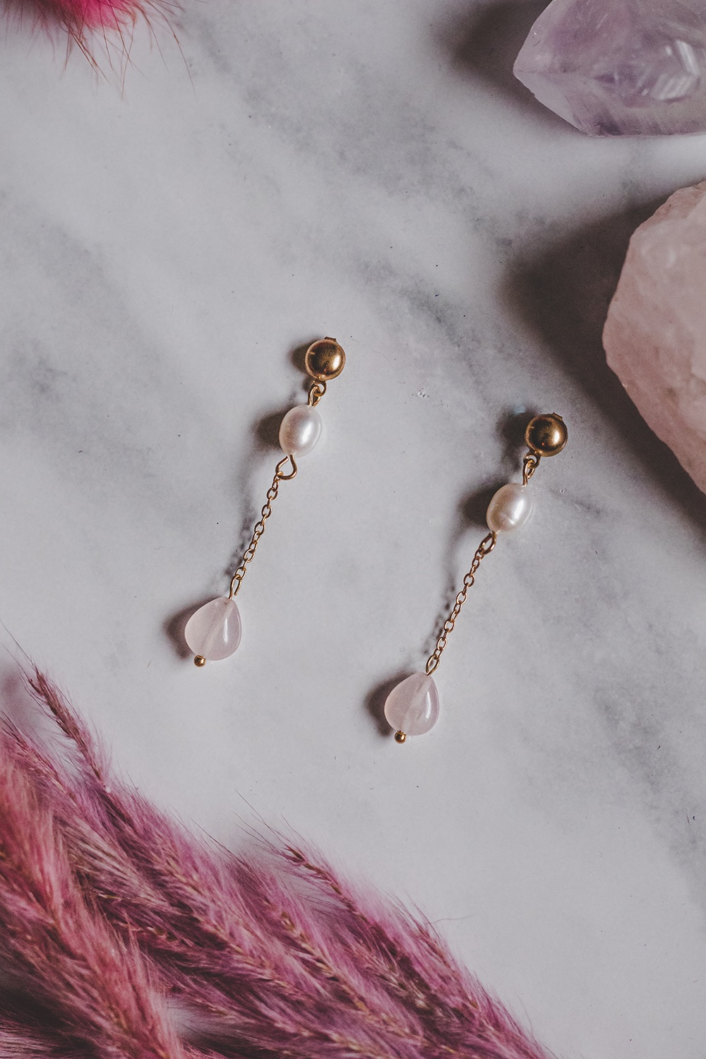 Gold Tone Rose Quartz & Mother of Pearl Extended Drop Earrings