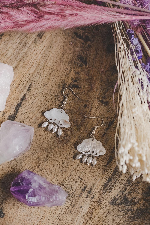 925 Sterling Silver Mother of Pearl Cloud Mini Drop Earrings
