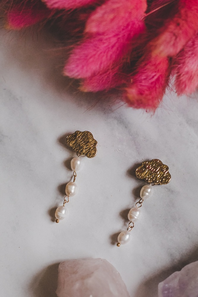 """Gold Tone Cloud """"Rainy Days"""" Mother of Pearl Single Drop Earrings"""