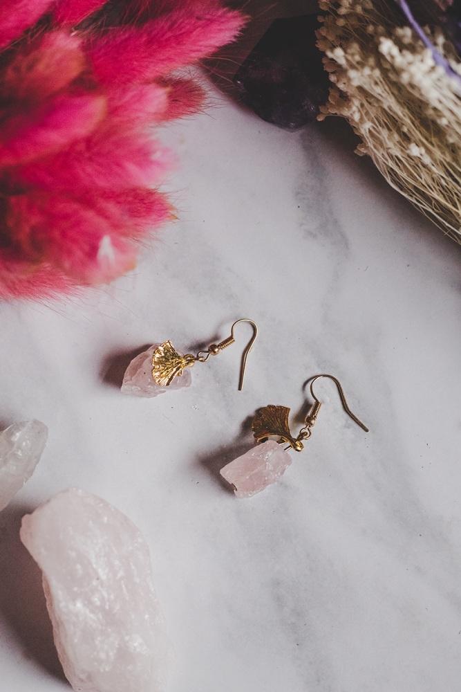 Gold Tone Rose Quartz Rock Statement Earrings