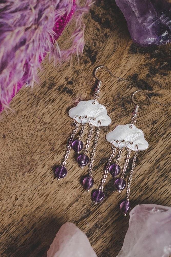 925 Sterling Silver Mother of Pearl Cloud Amethyst Multi Drop Earrings