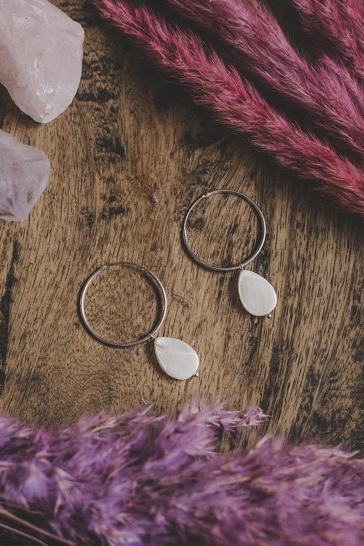 925 Sterling Silver Large Hoop & Mother of Pearl Rain Drop Earrings