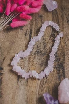 925 Sterling Silver Rose Quartz Crystal Rock Statement Necklace