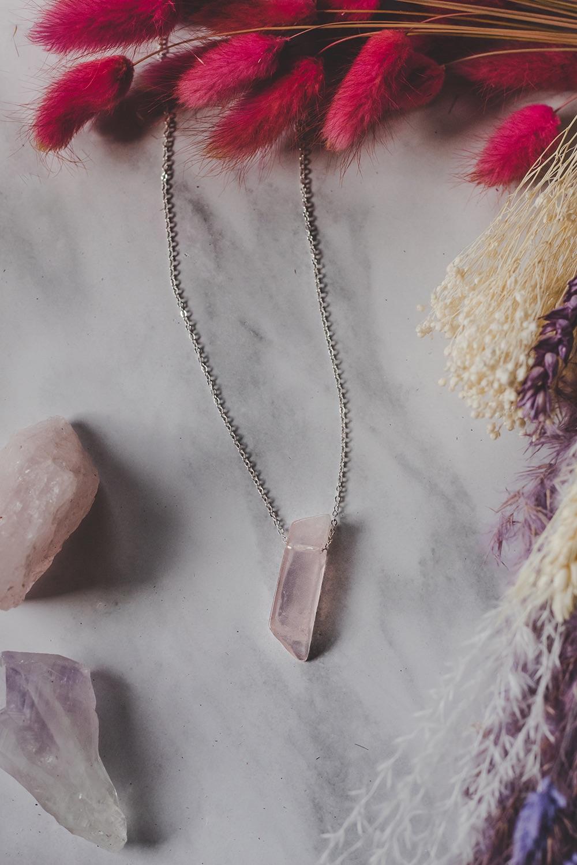 925 Sterling Silver & Rose Quartz Pendant Necklace