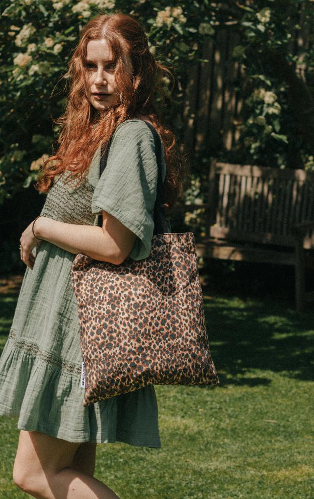 100% Cotton Canvas Leopard Print Shopper Tote by Xander Kostroma