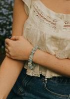 925 Sterling Silver Aquamarine Crystal Rock Statement Bracelet