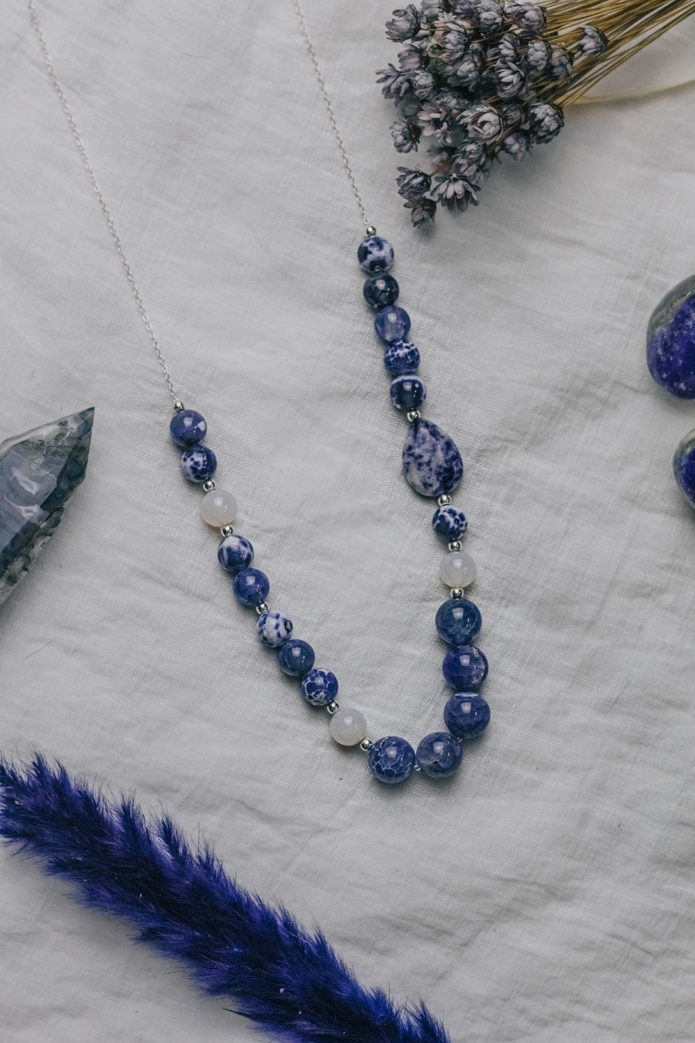 Long Length 925 Sterling Silver & Blue Agate Asymmetric Necklace