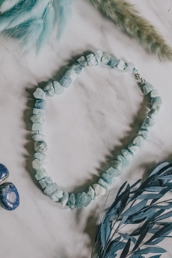 925 Sterling Silver Aquamarine Crystal Rock Statement Necklace