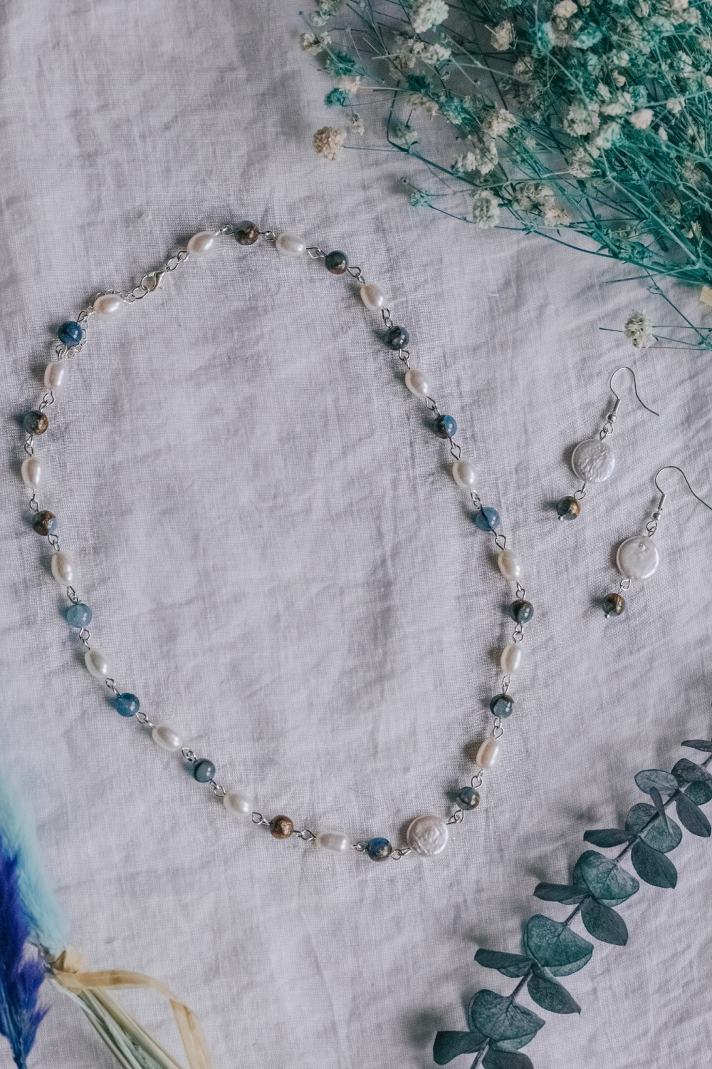 Mother of Pearl with Blue Kyanite Stone Necklace & Earrings Set