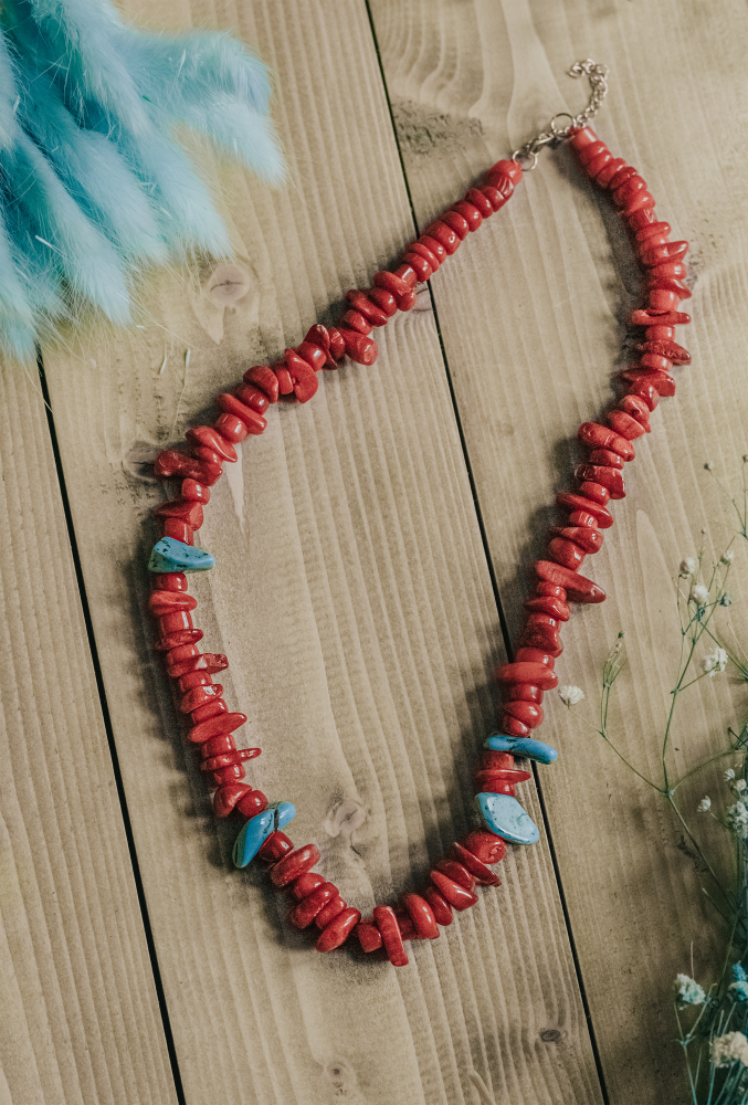 Bright Red Coral Necklace with Contrasting Turquoise Stone Detail