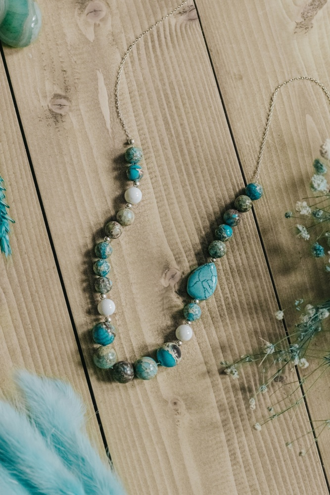 Long Length 925 Sterling Silver & Turquoise Asymmetric Necklace