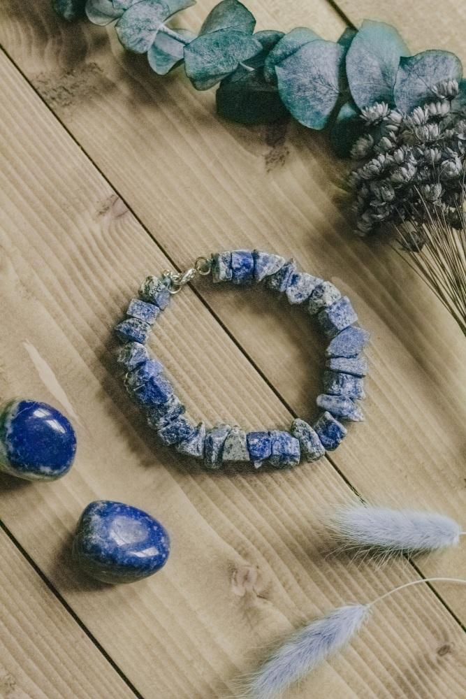 925 Sterling Silver Lazurite Crystal Rock Statement Bracelet