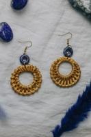 Gold Tone & Lazurite Stone Navy Blue Rattan Earrings
