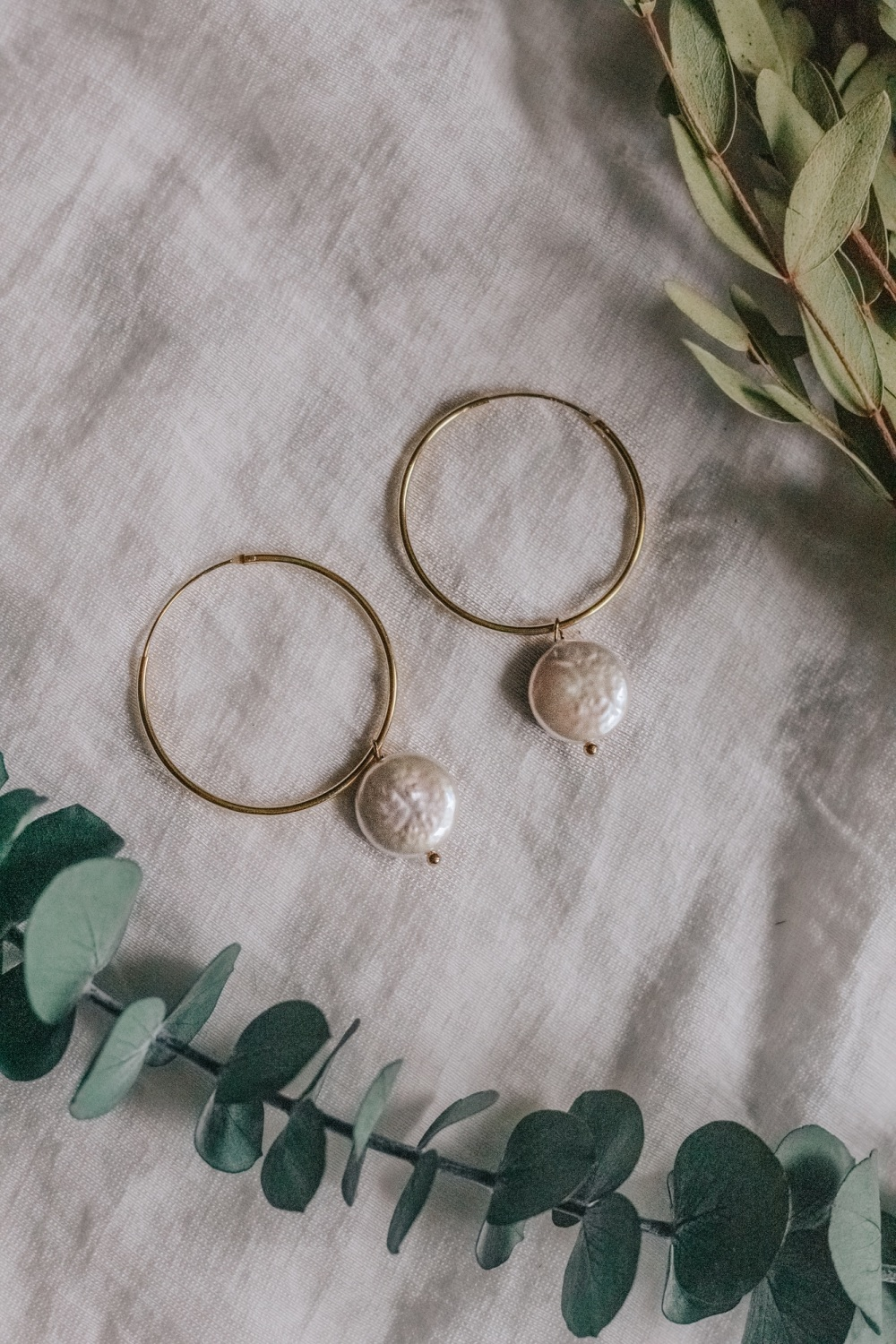 Gold Tone Large Hoop & Mother of Pearl Flat Stone Earrings
