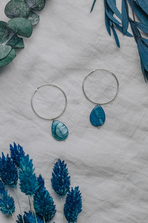 925 Sterling Silver Large Hoop & Turquoise Mother of Pearl Rain Drop Earrin