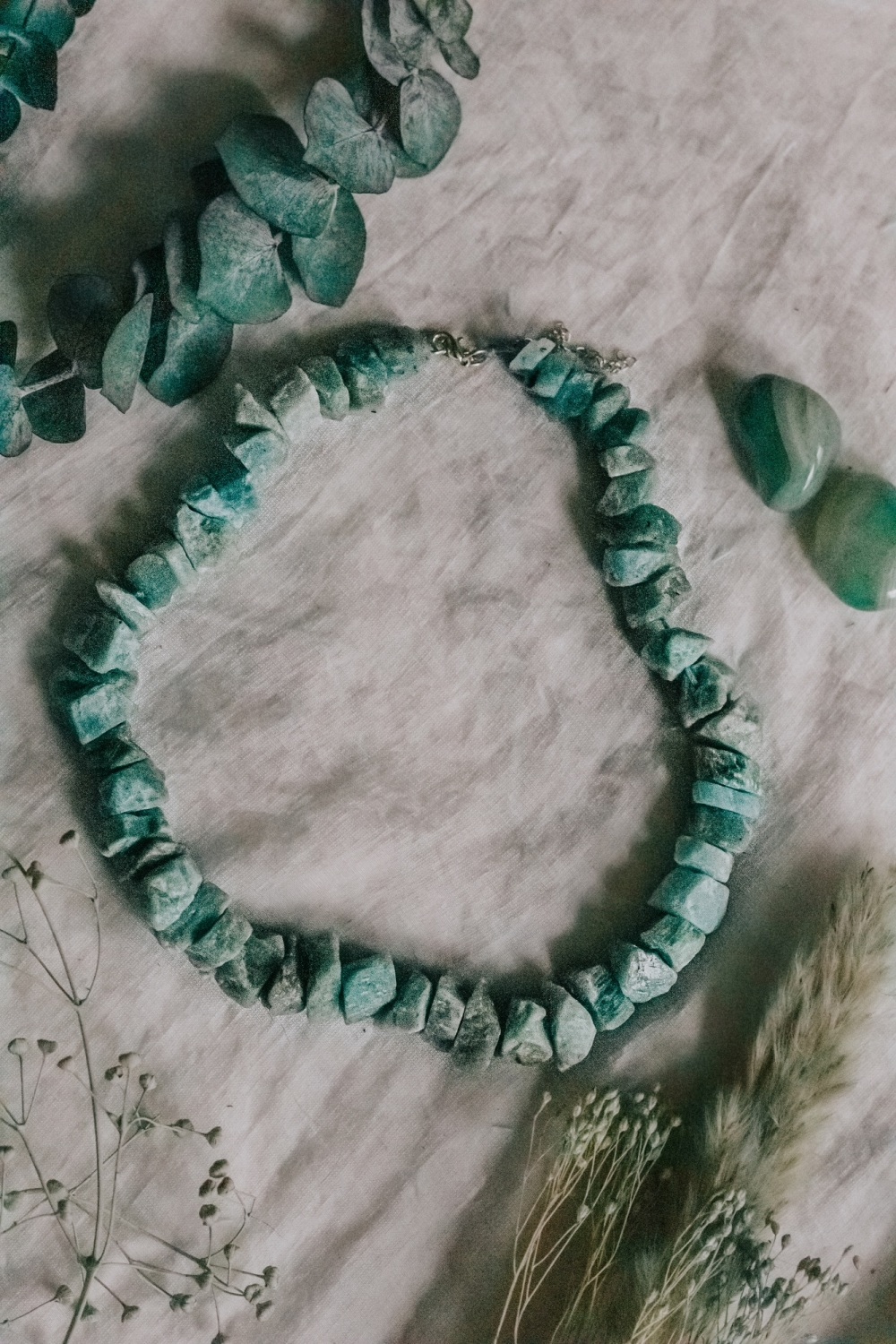 925 Sterling Silver Amazonite Crystal Rock Statement Necklace