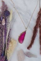 Gold Tone & Pink Agate Crystal Long Length Statement Necklace
