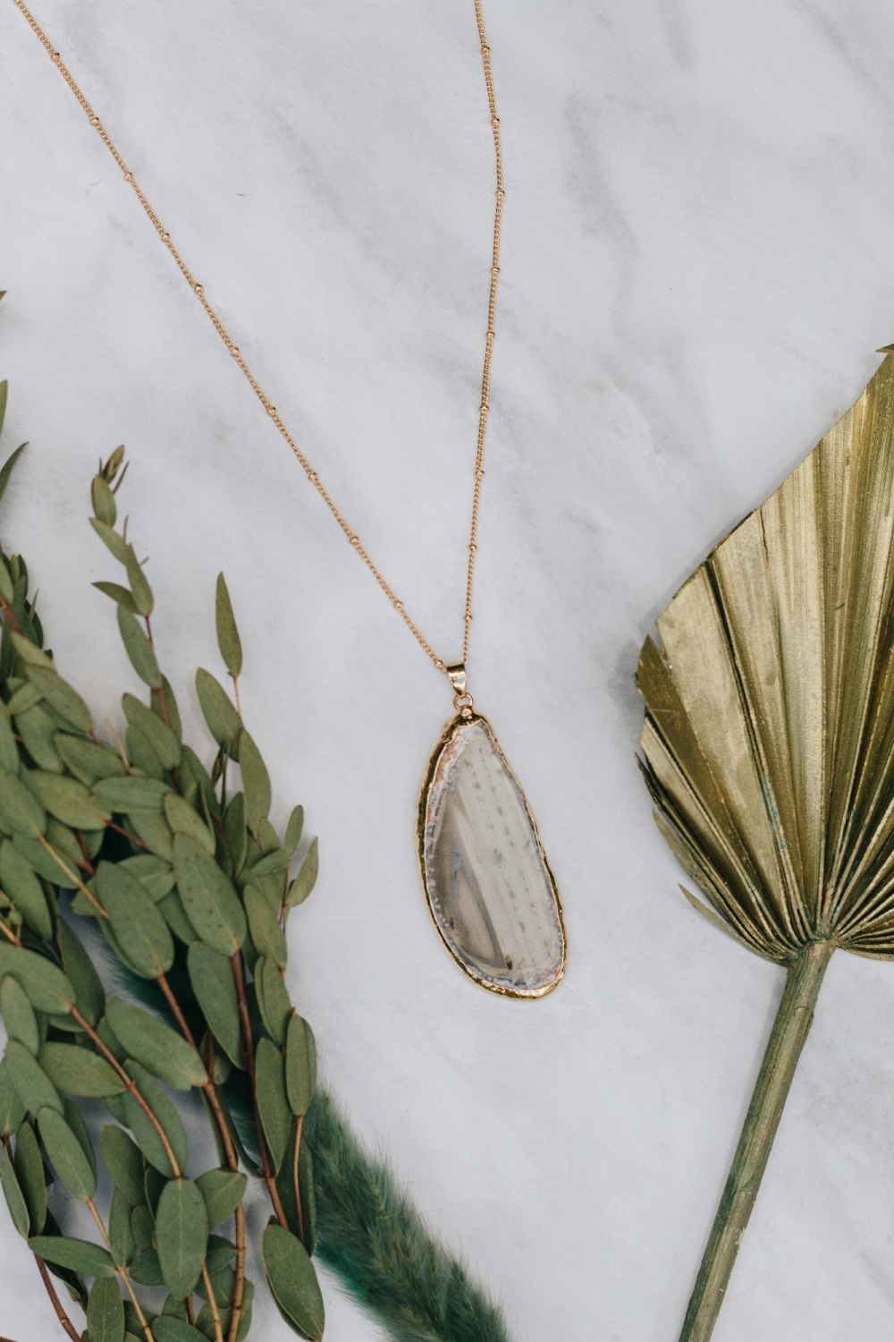 Gold Tone & Grey Agate Crystal Long Length Statement Necklace