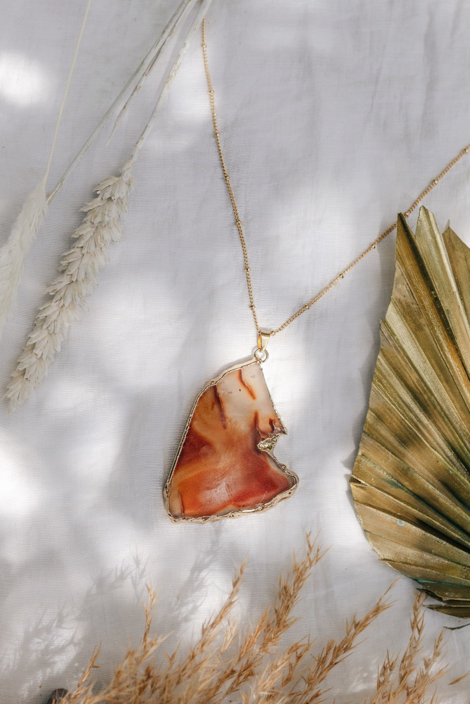 Gold Tone & Orange Agate Crystal Long Length Statement Necklace