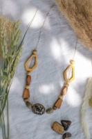 Longer Length Wooden Geometric Necklace