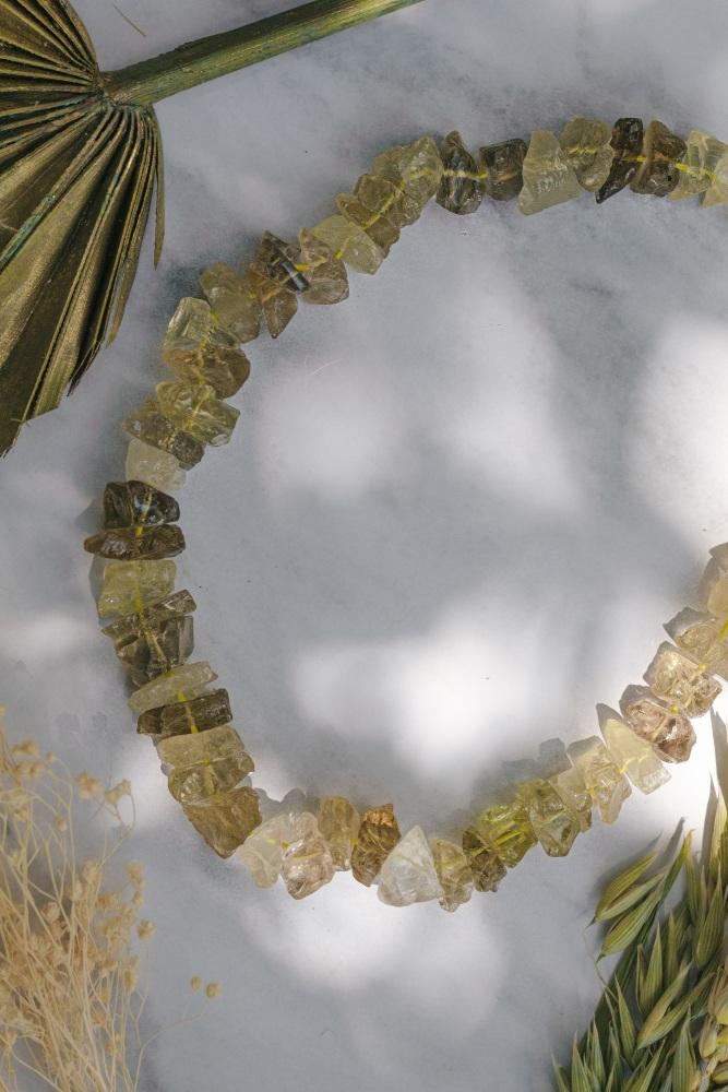 925 Sterling Silver Lemon Quartz Crystal Rock Statement Necklace