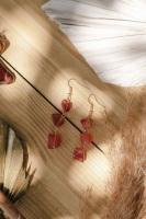 Gold Tone Orange Agate 3 Drop Semi Precious Stone Earrings