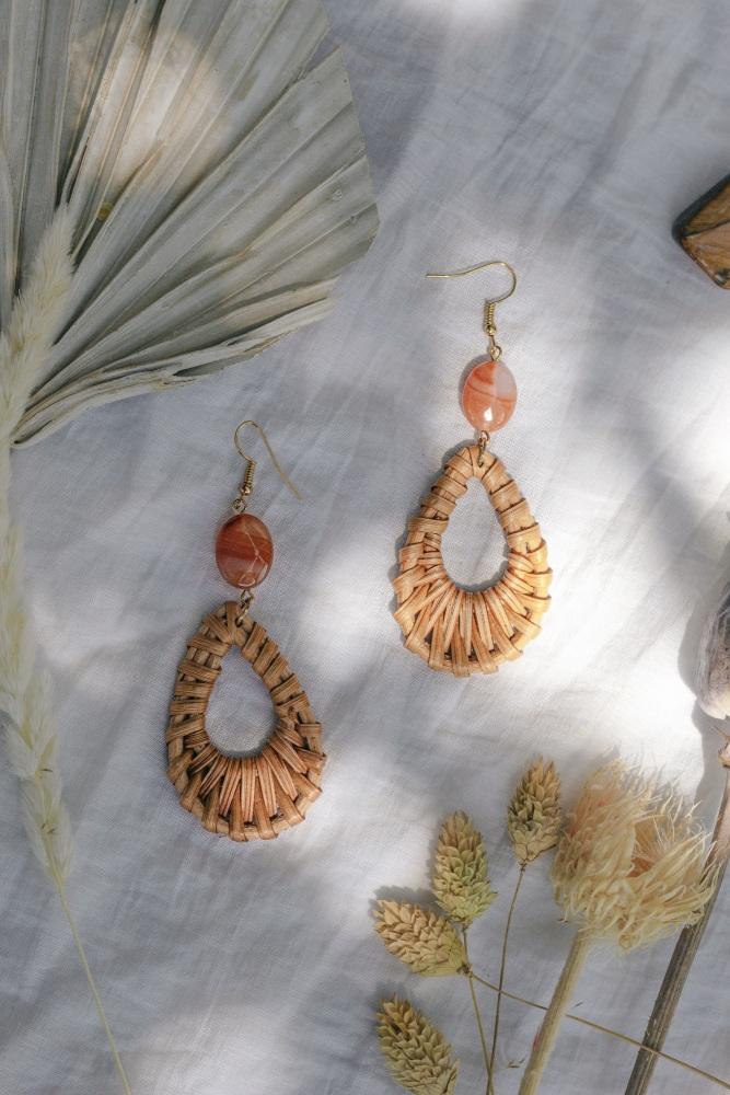 Rattan & Orange Agate Summer Earrings