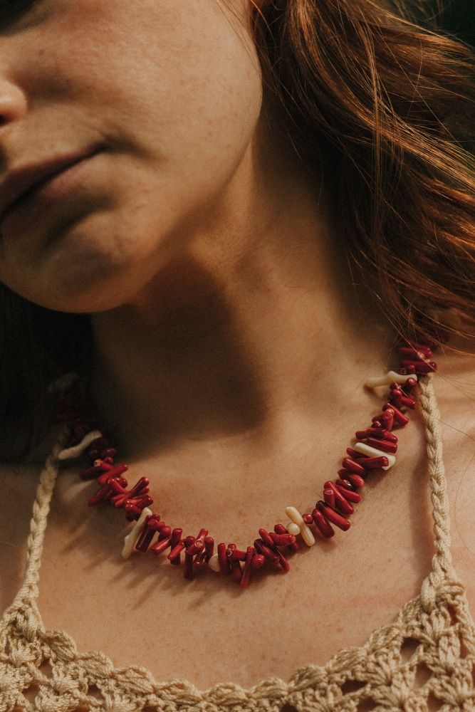 Red and Cream Coral Contrasting Necklace