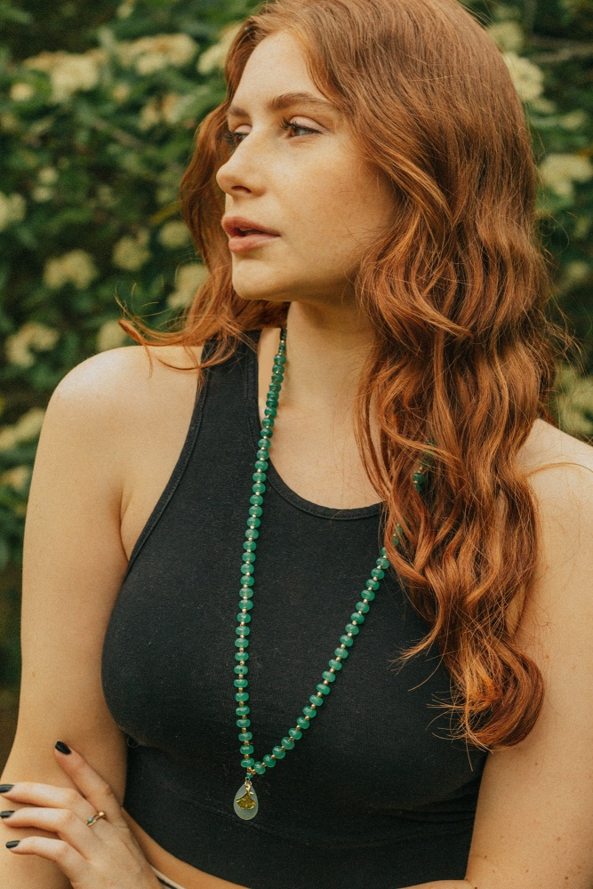Long Length Green Chalcedony Stone Necklace with Gold Tone Detail