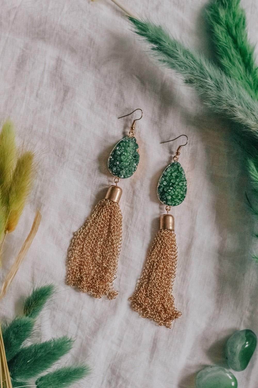 Gold Tone Green Agate Crystal Statement Chain Drop Earrings