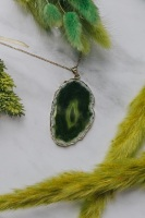 Gold Tone & Green Agate Crystal Long Length Statement Necklace