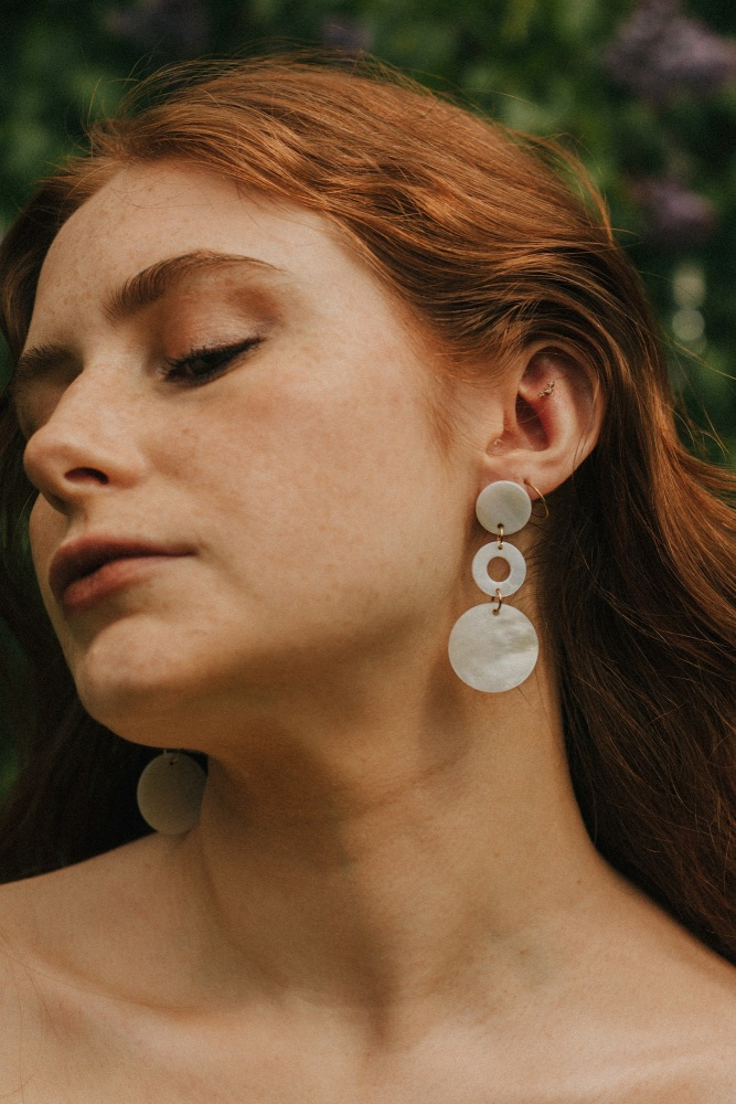 Gold Tone & Mother of Pearl Circle Drop Earrings