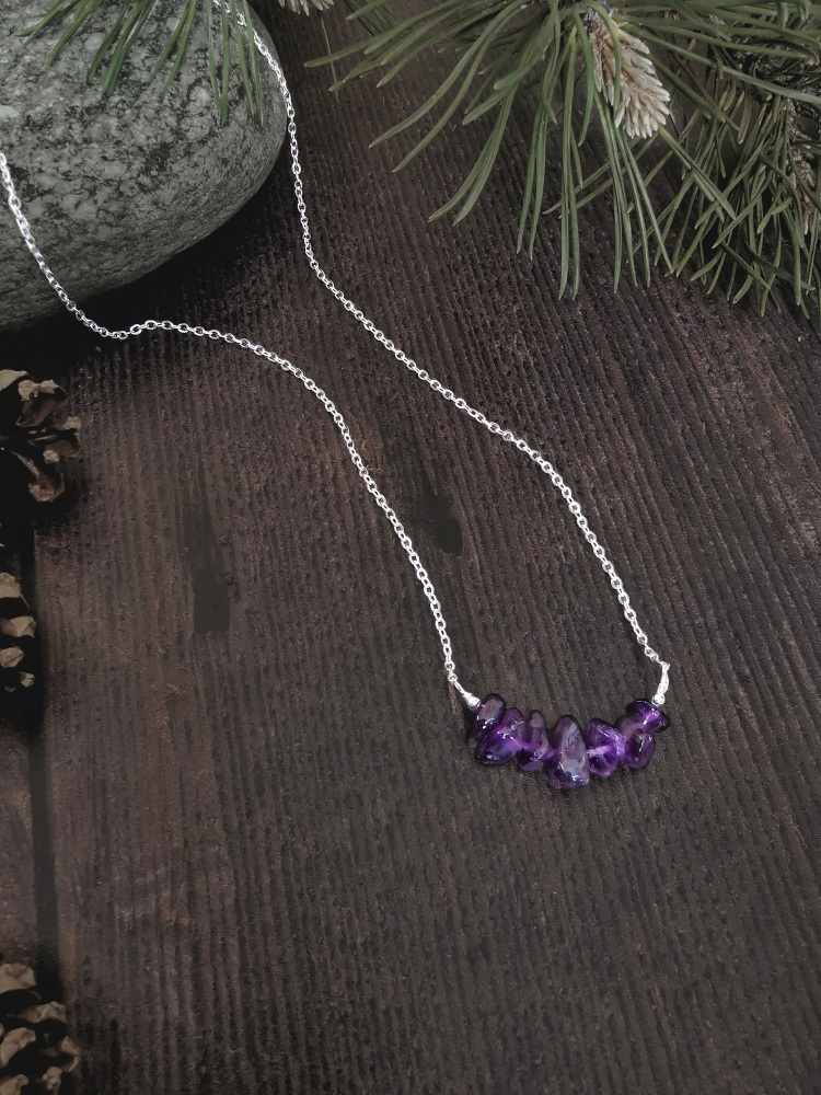 Sterling Silver Amethyst Semi Precious Stone Necklace