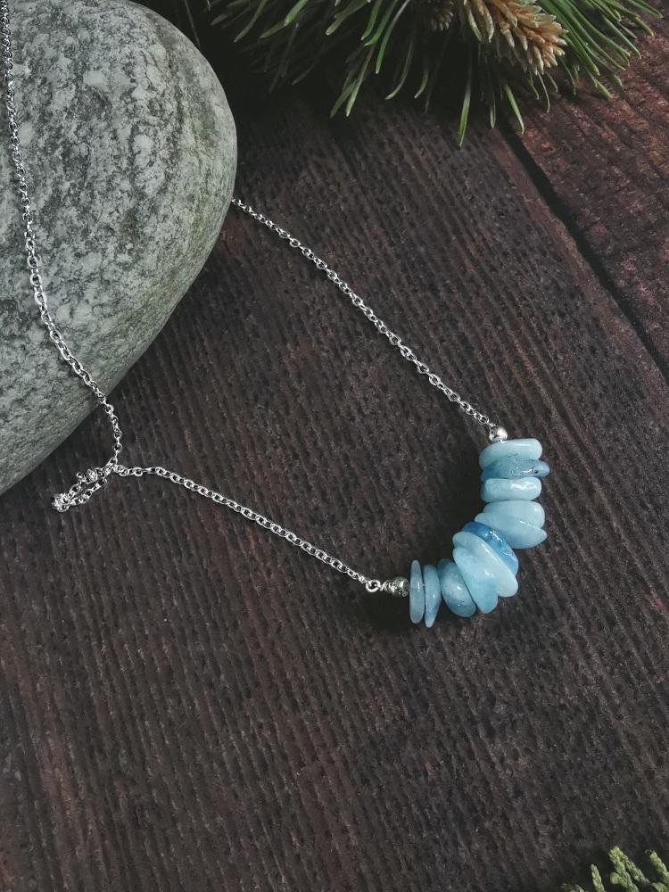 Sterling Silver Aquamarine Semi Precious Stone Necklace