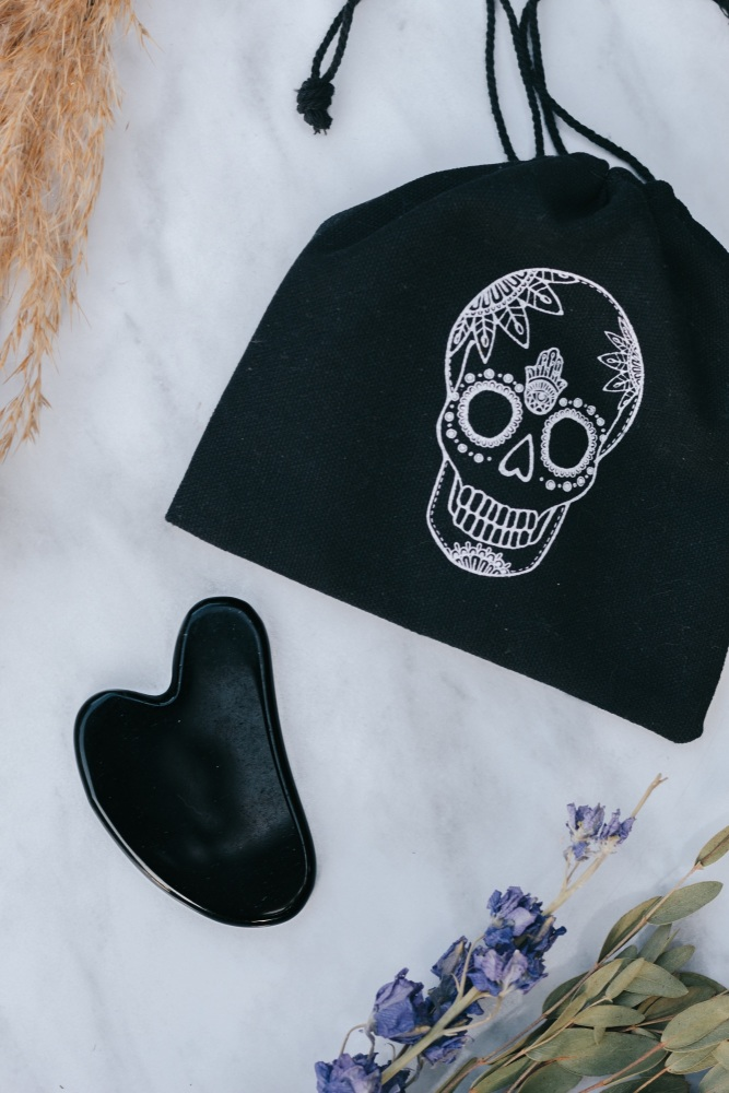 Black Obsidian Crystal Gua Sha with Black Skull Pouch