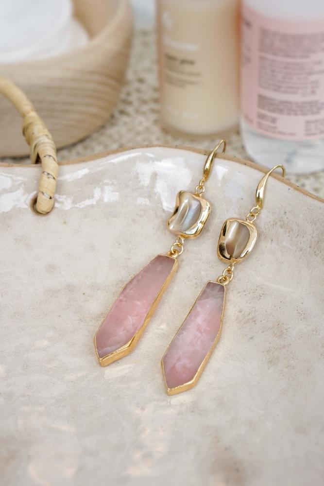 Gold Tone Mother of Pearl & Raw Cut Rose Quartz Earrings