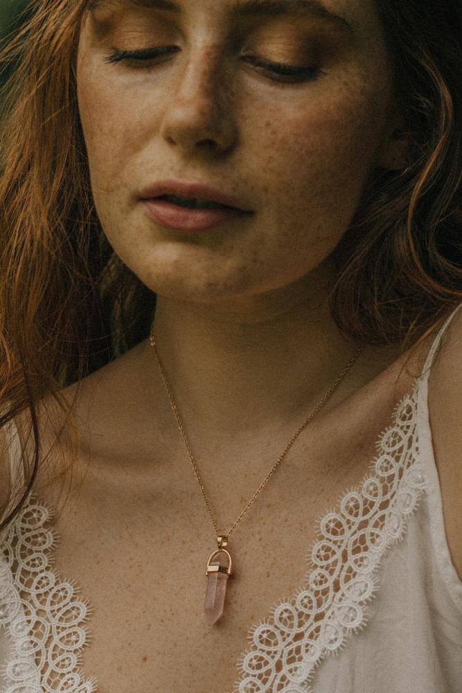 Gold Tone & Rose Quartz Crystal Point Necklace
