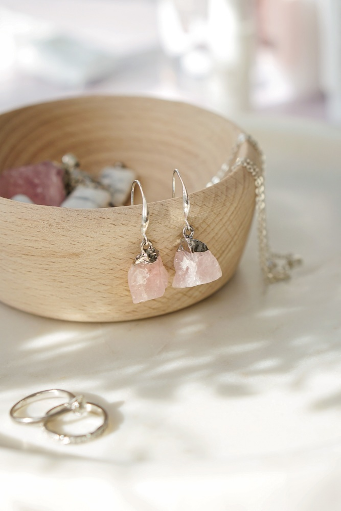925 Sterling Silver Raw Cut Rose Quartz Rock Earrings