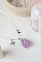 925 Sterling Silver Raw Cut Amethyst Moon & Star Necklace