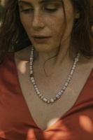 White Turquoise & Chalcedony Semi Precious Stone Necklace