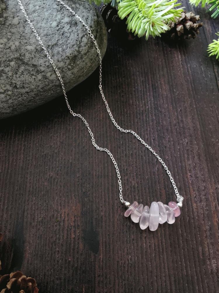 Sterling Silver Rose Quartz Semi Precious Stone Necklace